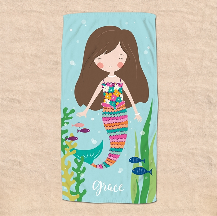 Picture of Brunette Hair Mermaid Beach Towel