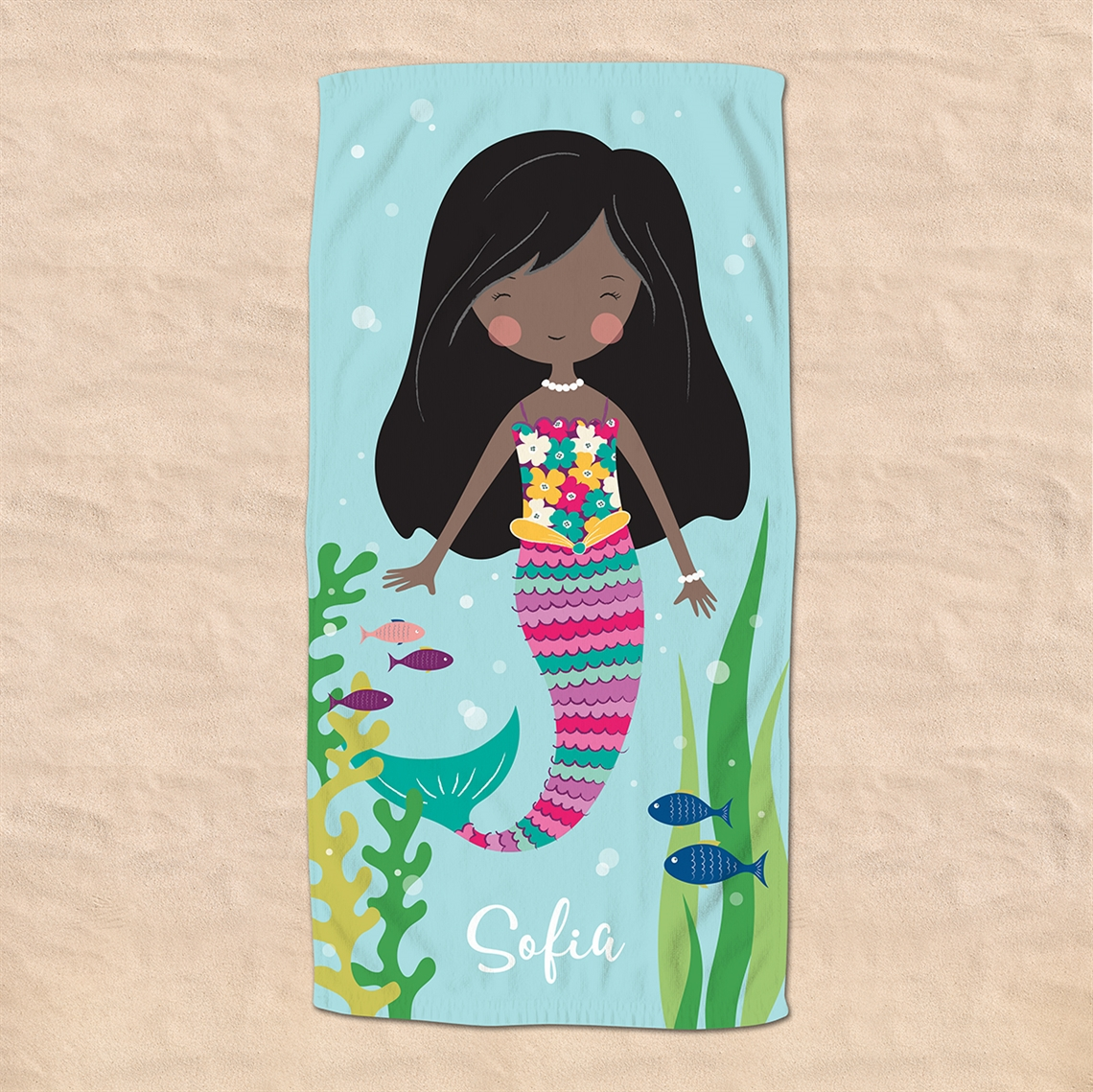 Picture of Dark Hair Mermaid Beach Towel
