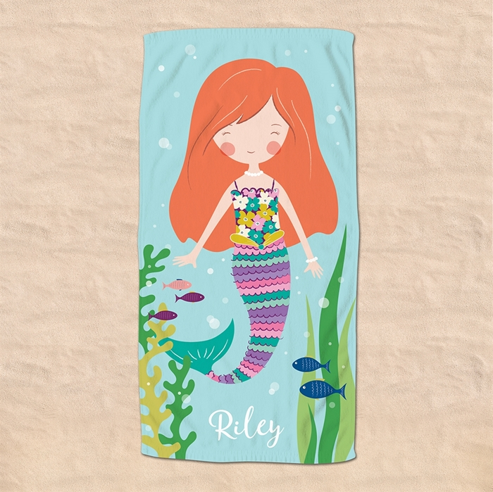 Picture of Red Hair Mermaid Beach Towel